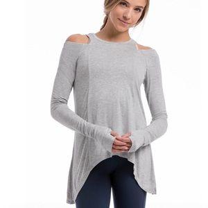PURE BARRE Cold Shoulder Thumbhole LS T Shirt XS